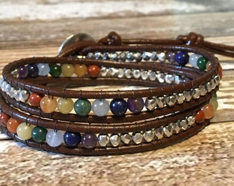Healing Crystal Bracelet / Chakra Healing Bracelet  / Chakra Bracelet / Chakra Jewelry / Chakra / Chan Luu Bracelet / Leather Bracelet