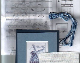 Holland Windmill Tulip Cross Stitch Kit in Delft Blue with pre-cut mat and framing board