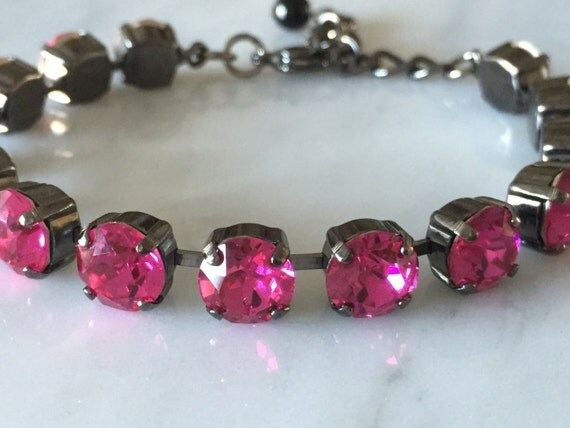 Swarovski Fuchsia Crystal Bracelet,  Pink Crystal Bracelet, Swarovski Pink Tennis Bracelet, Gunmetal Crystal Bracelet