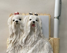 Bichon Frise Pet Note Holder Perfect for your home or office- Measures 5 x 5 x 2 inches