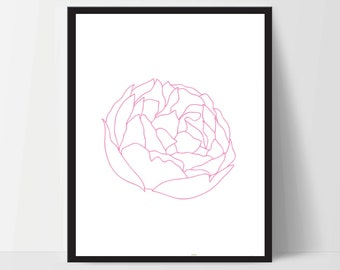Printable, Pink Peony Flower, Wall Art, Artwork, Home Decor, Modern Print, Print Art, Nature Art, Living Room, Digital Print, 12x16