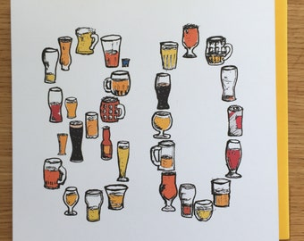 80 birthday card, eightiet, eighty  80th, beer male man