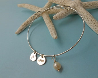 Initial Expandable Bangle Bracelet Hand Stamped Solid Sterling Silver Charm Bracelet