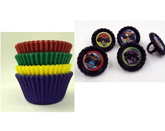 Monster Jam Rings with assorted color baking cups