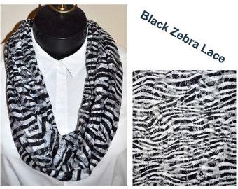 Black Zebra Lace Infinity scarf