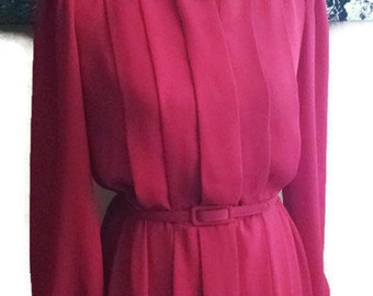 I.Magnin Red Pleated Dress with Crochet Collar-Belted Dress-70s-Red Dress-Size 8