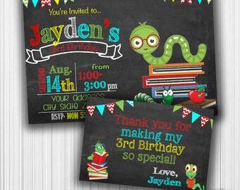 Bookworm Birthday Invitation, Unicorn Thank you card, Printable, Announcement, Invite, Milestone, Custom, Digital, Any age