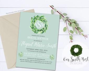 Rustic Bridal Shower Invitations DIY PRINTABLE Customizable Digital Prints Rustic Classic Bridal Monogram