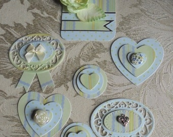 Scrapbook Paper Embellishments for Layouts Mini Albums Cards Tags Altered Art Papercrafts. Shabby Chic Tag And Matching Paper Embellishments