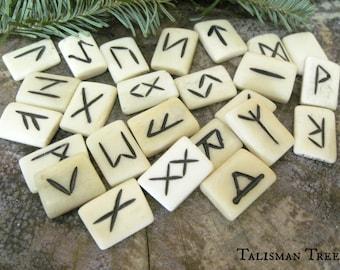 Elder Futhark Bone Runes, Futharc, Viking, Norse, Divination, Wisdom Stones, Symbols, Magic, Buffalo, Rune Stones,