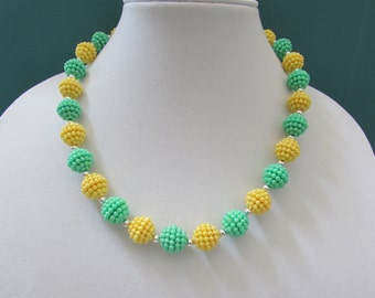 Mint Green and Yellow Necklace and Earrings