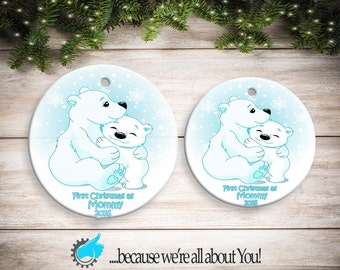 Personalized First Christmas as Mommy Boy Polar Bear Ornament, Customized Christmas Ornament, Stocking Suffers, Great Gift!