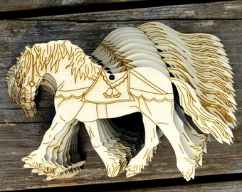 10x Wooden Shire Horse Trotting Fancy Tack Craft Shapes 3mm Plywood Animal Farm