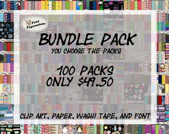 Huge Bundle Pack at a great price! You choose any 100 packs you like from my shop. Any paper, clip art, washi tape, or font. Great deal!