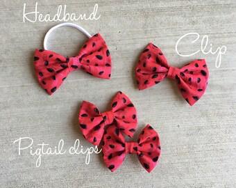 Watermelon seed bow || headband || hair clip || pigtail clips