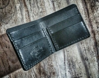 Black leather bifold, leather wallet, mens wallet, mens gift, gift for him