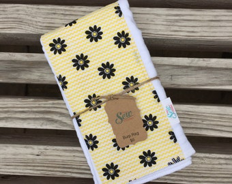 Yellow and Black Daisy CLOTH DIAPER Burp RAG
