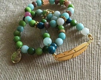 Bohemian Feather Bracelet Set