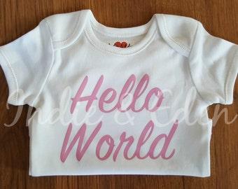 Pink Hello World Baby Newborn Vest Baby Grow Babygrow Personalised Photo Prop