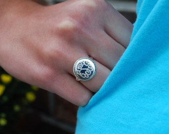 Sterling Silver Monogrammed Round Ring with Rope Border-Engraved Sterling Silver Ring