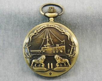 Lion Pocket watch Antique Bronze ship pocket watch Anchor pocket watch Sailor pocket watch 46mm