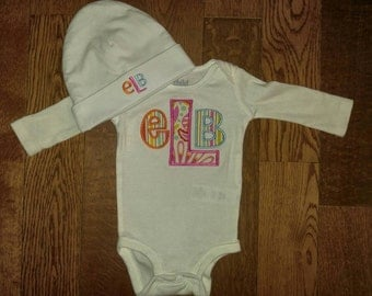 Baby Girl onesie and Hat Set