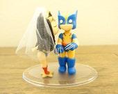 Wonder Woman and Wolverine Cake Topper. Wedding Cake Topper. Wonder Woman & Wolverine