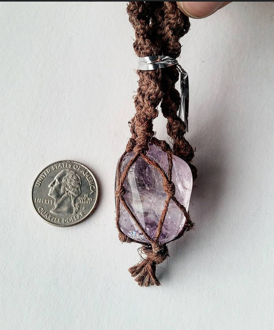 How To Make Hemp Necklaces: Amethyst Hemp Net Necklace. Amethyst Jewelry. Amethyst Hemp