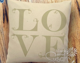 "LOVE Pillow Cover Natural 100% Cotton Canvas or Lined Burlap | 12""x12"" 16""x16"" 20""x20"" 