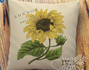 """Sunflower Botanical Pillow Cover I   100% Cotton Canvas   12"""" x 12"""", 16"""" x 16"""", 20"""" x 20""""   London and its Environs"""
