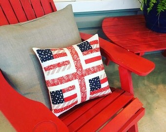 Quilted American Flag Pieced Pillow