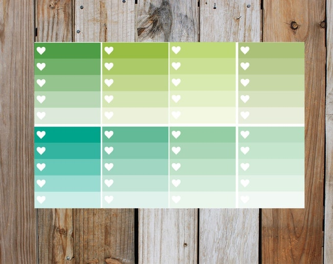 Green Heart Check Box Planner Stickers in Glossy - Shades Of Green | for use with ERIN CONDREN Life Planner