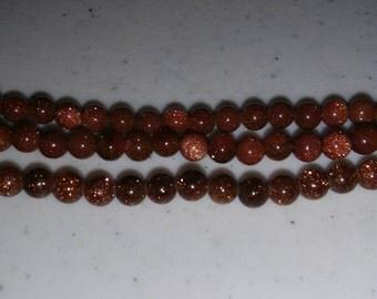 Goldstone beads 4mm round beads 4mm brown beads round 4mm beads round brown beads
