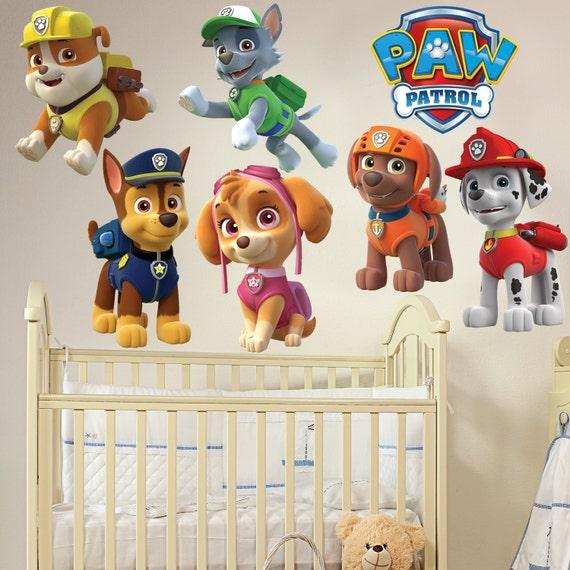 paw patrol kids boy girls bedroom decal wall art sticker gift. Black Bedroom Furniture Sets. Home Design Ideas