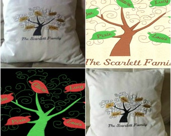 Family Tree - Choose Names and Colours - Embroidered Cushion Cover
