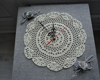 REDUCED - Handmade Doily clock   (00403)
