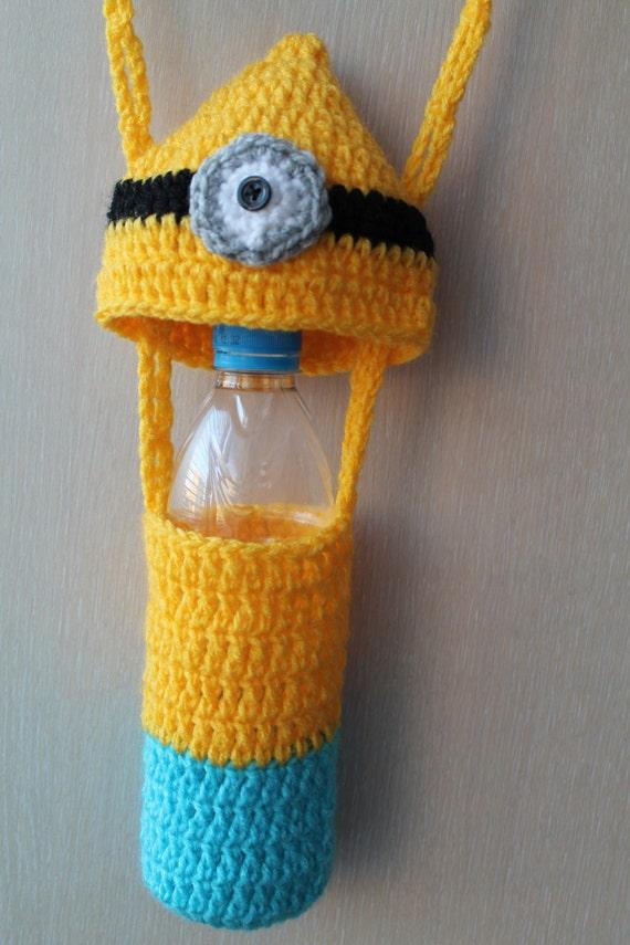 Crochet Minion Bag Pattern : Crochet Pattern Minion Water Bottle Carrier Bag Tote Crochet