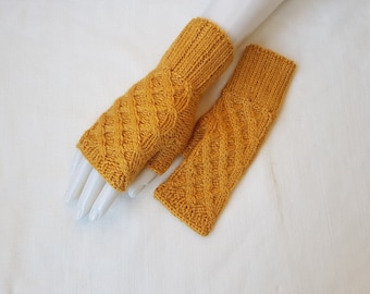 Yellow wristlets, yellow fingerless mittens, yellow gloves  hand knitted,  gift for her, gift for Christmas