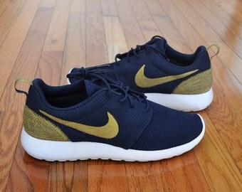Custom Nike Roshe Run Navy Gold