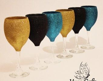 Happy Crafts Glitter Wine Glasses Black Gold Teal