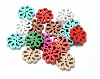 20pcs--Wooden Buttons, Mix Colors (B31-11)