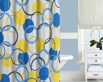 Quote shower curtain yellow shower curtain wake up and be