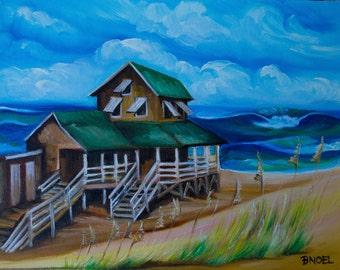 "Nags Head Cottage -  14"" by 11"" Original Oil Painting by Artist Barbara Noel"