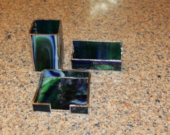 Handmade Stained Glass Desk Set - 3 pcs - Note Holder, Business Card Holder & Pen Holder. Perfect for Manager, Client, Colleague or Graduate