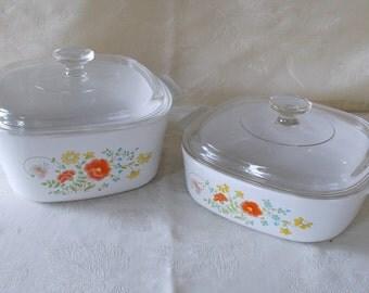 Vintage Set Corning Ware Lidded Casseroles, Wildflower Pattern