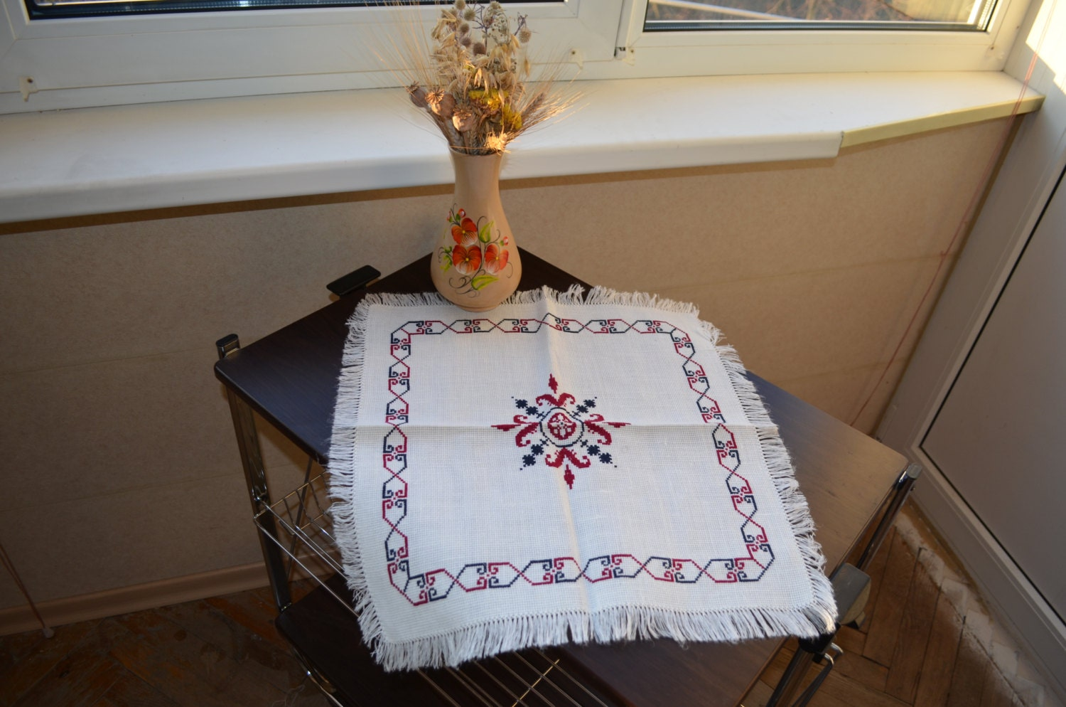 Handmade Vintage TableCloth Cross Stitch, Needlepoint, with diametrical ornament