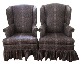 Pair Paisley Upholstered Wing Back Chairs