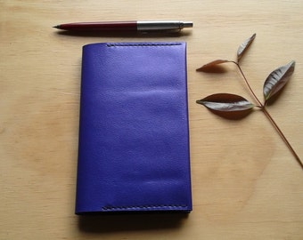 Purple Australian kangaroo leather  A6 Clairefontaine notebook cover
