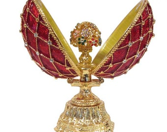 Faberge style egg with Bunch of Flowers gilded Openwork red jewelry box Austrian crystals - kodfb54