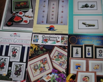 # 10 cross stitch patterns: vegetables-flowers-Fruits-cookies